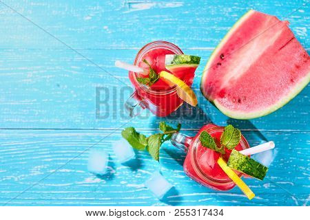 Watermelon Mojito With Mint, Rum, Ice And Lemons With Copyspace
