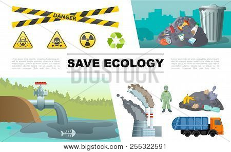 Flat Ecology Pollution Infographic Concept With Oil In Pond Waste Man In Protective Suit Factory Gar