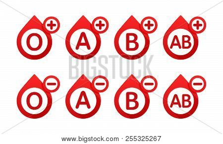 Blood Type In The Form Of A Drop Of Blood Vector Icons. Different Blood Types Vector Illustration. B