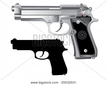 silver handgun isolated