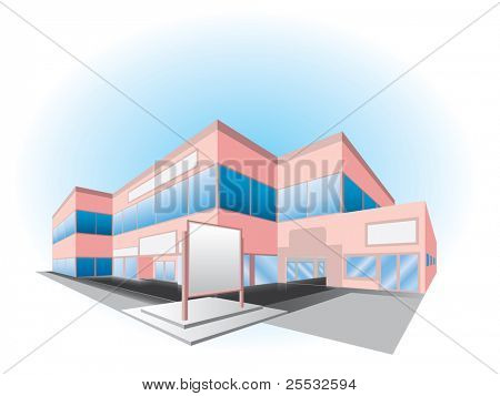 Vector illustration of shopping center building