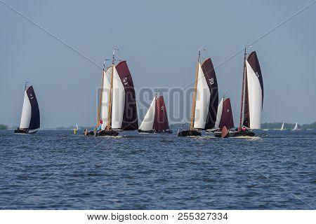 Traditional Frisian Sailing Ships (fryske Boerepreamen) Sail On The Heegermeer