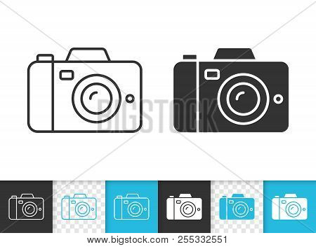 Digital Camera Black Linear And Silhouette Icons. Thin Line Sign Of Photography. Photo Outline Picto