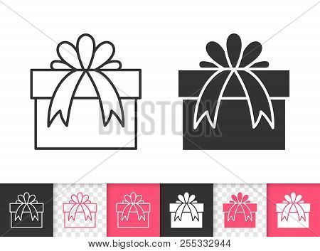 Gift black linear and silhouette icons. Thin line sign of bounty box. Present outline pictogram isolated on white, color, transparent background. Vector Icon shape. Gift boxes simple symbol closeup poster