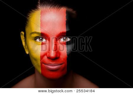 Portrait of a woman with the flag of the Germany