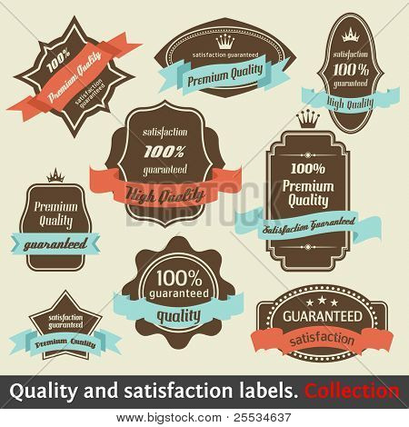 Vintage Premium Quality and Satisfaction Guarantee Label collection. Design Elements with retro and vintage style