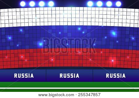 Russia flag card stunts. Russia soccer or football stadium background. vector poster
