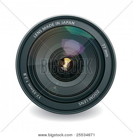 Professional photo lens, isolated on white