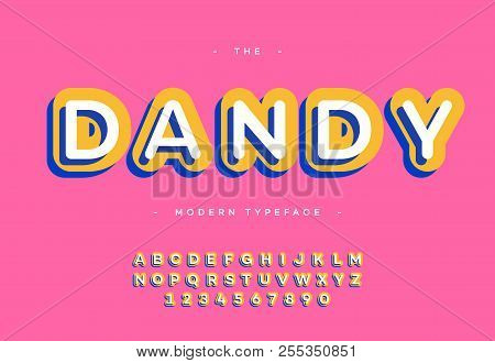 Vector Dandy Font 3d Bold Typography Sans Serif Colorful Style For Poster, Decoration, Promotion, Bo