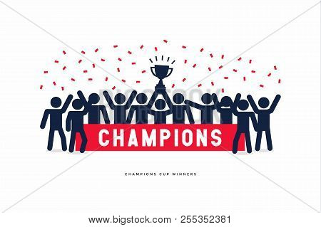 Stick Figures Of The Winner Cup Soccer Or Football Champions. Vector