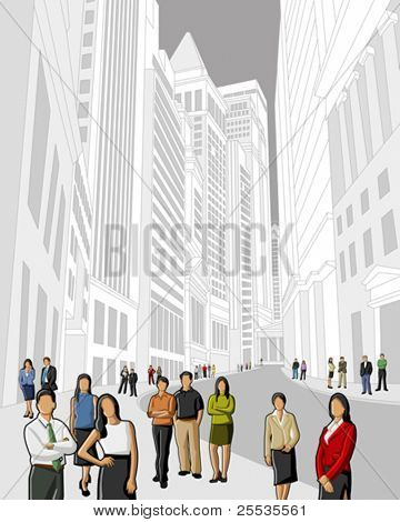 Business and office people in financial district. Downtown vector illustration.