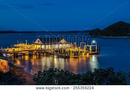 Paihia Wharf In Bay Of Islands, Far North District, Northland, New Zealand, Nz, At Night