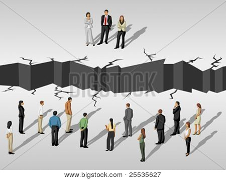 group of business people separated by cracked floor