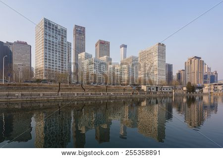 Beijing, China - Mar 22, 2018: View Of Skyscrapers In Beijing Cbd Near Sunset