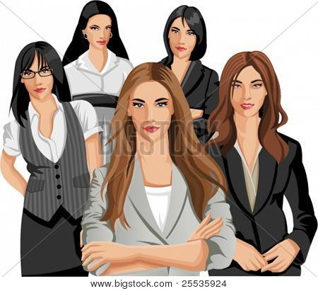 Set of five Business women