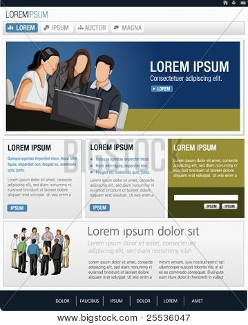 Blue Website Template. Vector illustration.