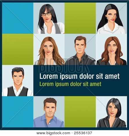Template with a group of business and office people photos. Vector Icons.