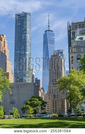 New York, Usa - May 21, 2018: View Of Skyscrapers In Lower Manhattan Of New York City, Including The