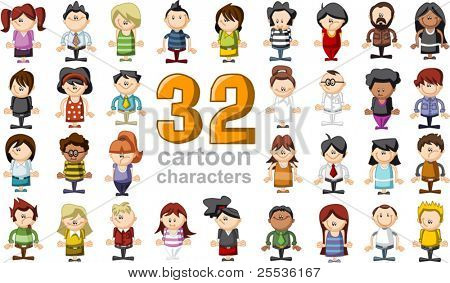 Group of 32 funny cartoon people