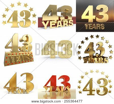 Set Of Number Forty Three Year (43 Year) Celebration Design. Anniversary Golden Number Template Elem