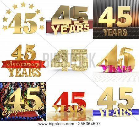 Set Of Number Forty Five Year (45 Year) Celebration Design. Anniversary Golden Number Template Eleme