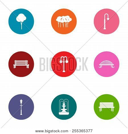 Parkland Space Icons Set. Flat Set Of 9 Parkland Space Vector Icons For Web Isolated On White Backgr