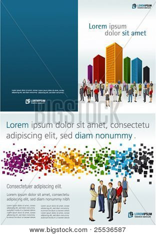 Colorful template for advertising brochure with people in a colorful city