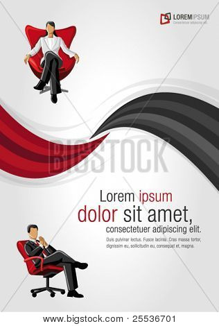 Red and black template for advertising brochure with business people on chair