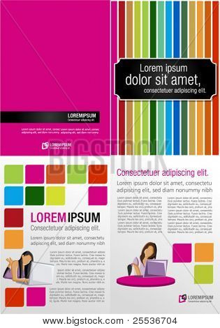 Colorful templates for advertising brochure with girls