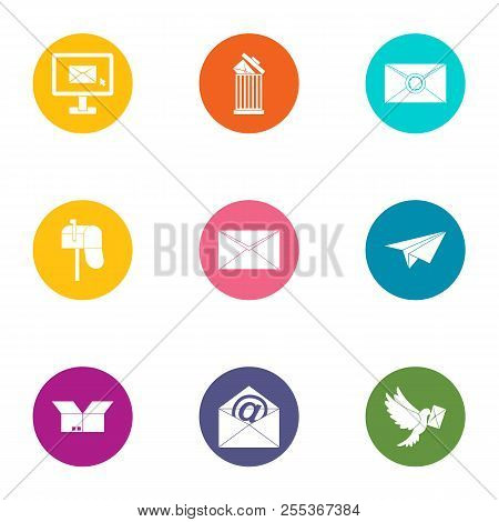 General Post Office Icons Set. Flat Set Of 9 General Post Office Vector Icons For Web Isolated On Wh