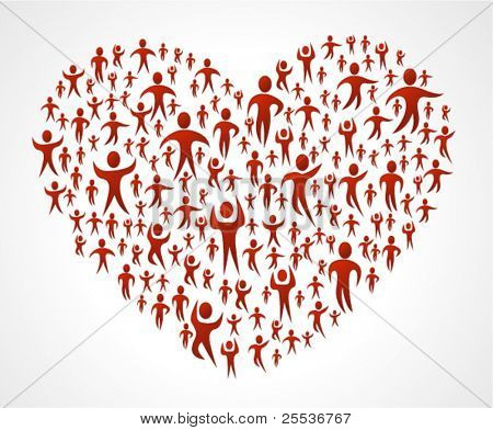 Group of red people forming a big heart