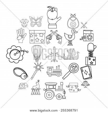 Babyhood Icons Set. Outline Set Of 25 Babyhood Vector Icons For Web Isolated On White Background