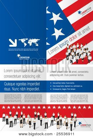 American flag template for advertising brochure with people