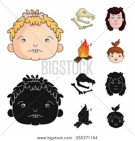 Woman, Hair, Face, Bonfire .stone Age Set Collection Icons In Cartoon, Black Style Vector Symbol Sto