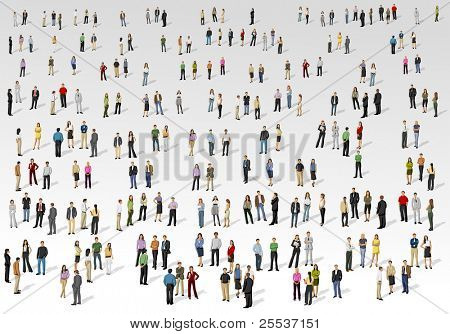 Big group of people on with background