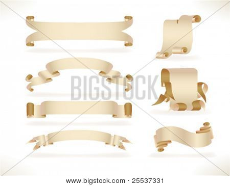Big set of vector old paper banners