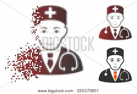 Physician Icon With Face In Dissolved, Dotted Halftone And Undamaged Solid Variants. Elements Are Gr
