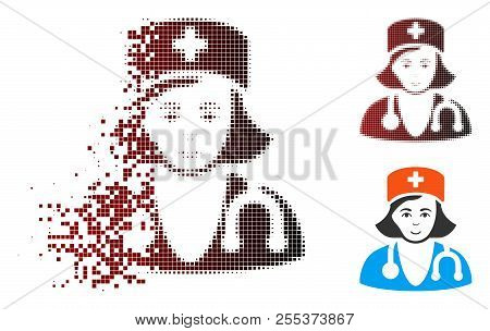 Physician Lady Icon With Face In Dispersed, Dotted Halftone And Undamaged Whole Variants. Fragments