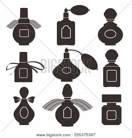 Collection Of Silhouettes Of Bottles For Perfume. Vector Illustration. Eps 10