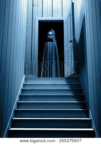 Spooky death in hooded cloak with glowing eyes in opened door steps leading from a dark basement. 3d render