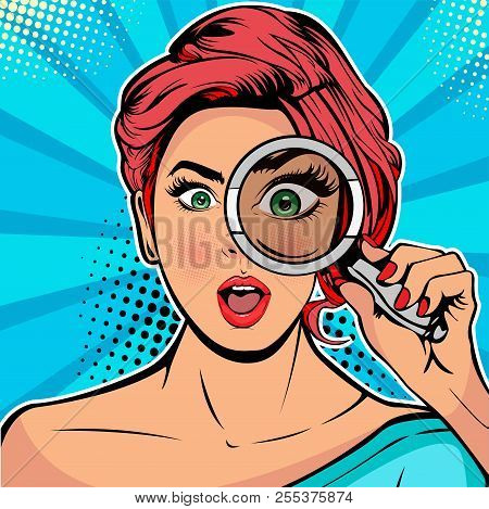 The Woman Is A Detective Looking Through Magnifying Glass Search. Vector Illustration In Pop Art Ret