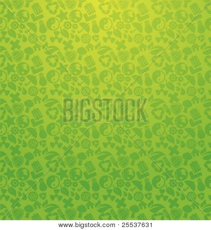Seamless green vector ecology pattern.
