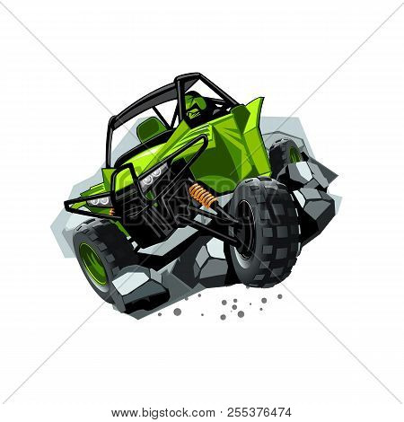 Off-road Atv Buggy, Rides Through Obstacles Stones. Green Color. Eps 10 Vector Graphics. Layered And