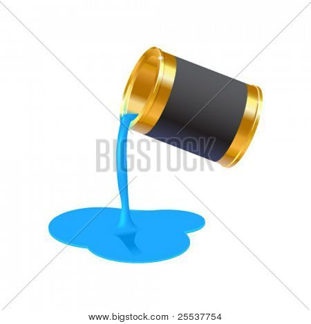Realistic vector gold bucket with flowing paint