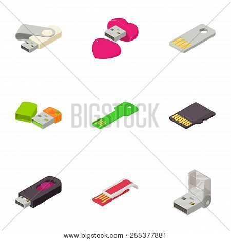 Portable Disk Icons Set. Isometric Set Of 9 Portable Disk Vector Icons For Web Isolated On White Bac