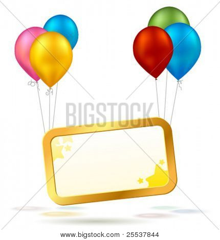 Vector celebration sign with colorful balloons.