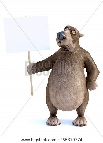 3d Rendering Of A Charming Grumpy Cartoon Bear Holding A Blank Sign In His Hand. He Is Looking At Th