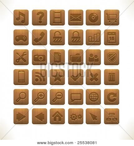 Vector wood web icons