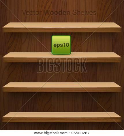 Vector wooden shelves for your design.