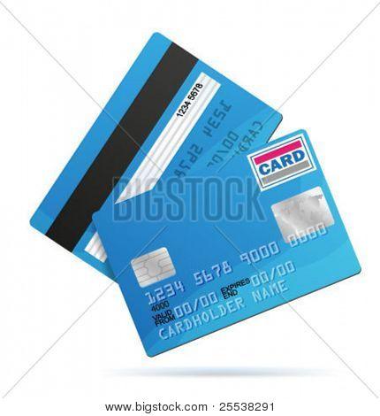 Vektor-Kreditkarte-Vorlage. Vorder- und Rückseite.